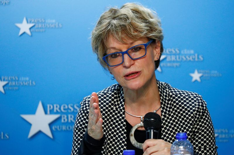Callamard, U.N. Special Rapporteur on Extrajudicial Executions, holds a news conference in Brussels