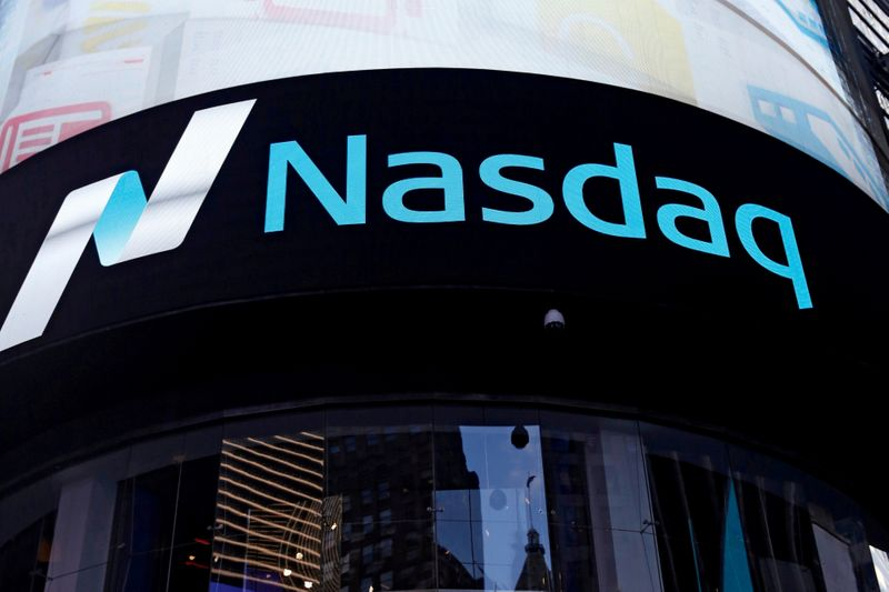 FILE PHOTO: FILE PHOTO: A view of the exterior of the Nasdaq market site in the Manhattan borough of New York City