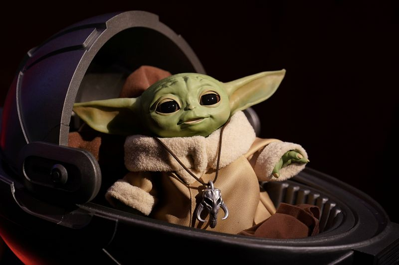 FILE PHOTO: An animatronic Baby Yoda toy is pictured  during a