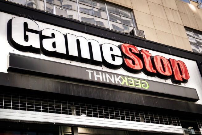 FILE - Pedestrians passed a GameStop store on 14th Street at Union Square, Thursday, Jan. 28, 2021, in the Manhattan borough of New York. (AP Photo/John Minchillo, File)