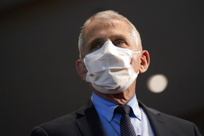 FILE - In this Dec. 22, 2020, file photo, Dr. Anthony Fauci, director of the National Institute of Allergy and Infectious Diseases, spoke before receiving his first dose of the COVID-19 vaccine at the National Institutes of Health, in Bethesda, Md. (AP Photo/Patrick Semansky, Pool, File)