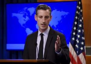 State Department spokesman Ned Price speaks during a press briefing at the State Department in Washington, DC, on February 9, 2021. (Olivier Douliery/Pool via AP)