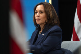 Vice President Kamala Harris attends a virtual meeting with mayors from the African American Mayors Association, Wednesday, Feb. 10, 2021, from the South Court Auditorium on the White House complex. (AP Photo/Jacquelyn Martin)