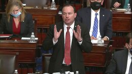 In this image from video, Sen. Mike Lee, R-Utah, objects to House impeachment managers description of a call that President Donald Trump made to him that was presented as evidence during the second impeachment trial of former President Donald Trump in the Senate at the U.S. Capitol in Washington, Wednesday, Feb. 10, 2021. (Senate Television via AP)