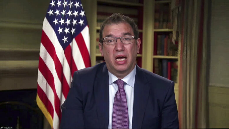 "In this Jan. 27, 2021, image from video, Andy Slavitt, senior adviser to the White House COVID-19 Response Team, speaks during a White House briefing on the Biden administration's response to the COVID-19 pandemic in Washington. President Joe Biden's team is styling itself on war footing as it attacks the coronavirus pandemic. Top aides say the administration is using every ""tool the federal government has to battle on every front."" (White House via AP)"