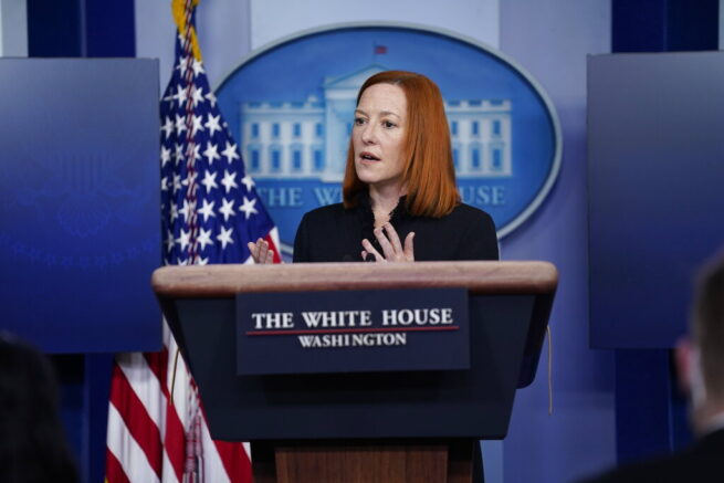 White House press secretary Jen Psaki spoke during a press briefing at the White House, Thursday, Feb. 11, 2021, in Washington. (AP Photo/Evan Vucci)