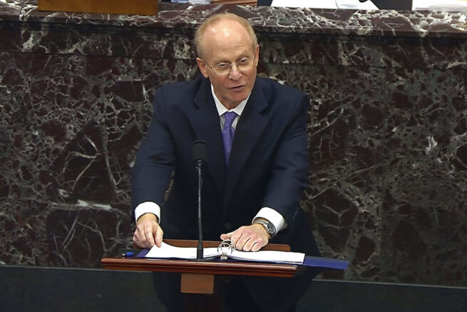 In this image from video, David Schoen, an attorney for President Donald Trump, spoke during the second impeachment trial of Trump in the Senate at the U.S. Capitol in Washington, Friday, Feb. 12, 2021. (Senate Television via AP)