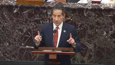 In this image from video, House impeachment manager Rep. Jamie Raskin answered a question during the second impeachment trial of President Donald Trump in the Senate at the U.S. Capitol in Washington, Friday, Feb. 12, 2021. (Senate Television via AP)