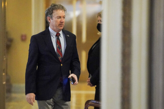 Sen. Rand Paul, R-Ky.,  arrives at the start of the fifth day of the second impeachment trial of former President Trump, Saturday, Feb. 13, 2021 at the Capitol in Washington. (Greg Nash/Pool via AP)