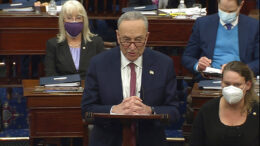 In this image from video, Senate Majority Leader Chuck Schumer of N.Y., speaks before voting in the second impeachment trial of former President Donald Trump in the Senate at the U.S. Capitol in Washington, Saturday, Feb. 13, 2021. (Senate Television via AP