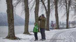 Josh Holland of Huntington, from right, and seven-year-old Max spend the afternoon watching the birds at Harris Riverfront Park after a winter storm brings snow and ice to the area on Monday, Feb. 15, 2021, in Huntington, W.Va. (Ryan Fischer/The Herald-Dispatch via AP)
