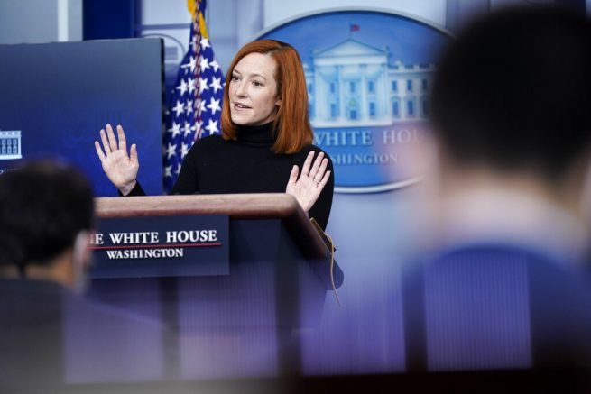 White House press secretary Jen Psaki speaks during a press briefing at the White House, Tuesday, Feb. 16, 2021, in Washington. (AP Photo/Patrick Semansky)