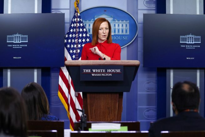 White House press secretary Jen Psaki speaks during a press briefing, Wednesday, Feb. 17, 2021, in Washington. (AP Photo/Evan Vucci)