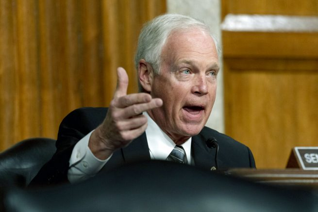 Sen. Ron Johnson, R-Wisc., speaks at a Senate Homeland Security and Governmental Affairs & Senate Rules and Administration joint hearing on Capitol Hill, Washington, Tuesday, Feb. 23, 2021, to examine the January 6th attack on the Capitol. (AP Photo/Andrew Harnik, Pool)