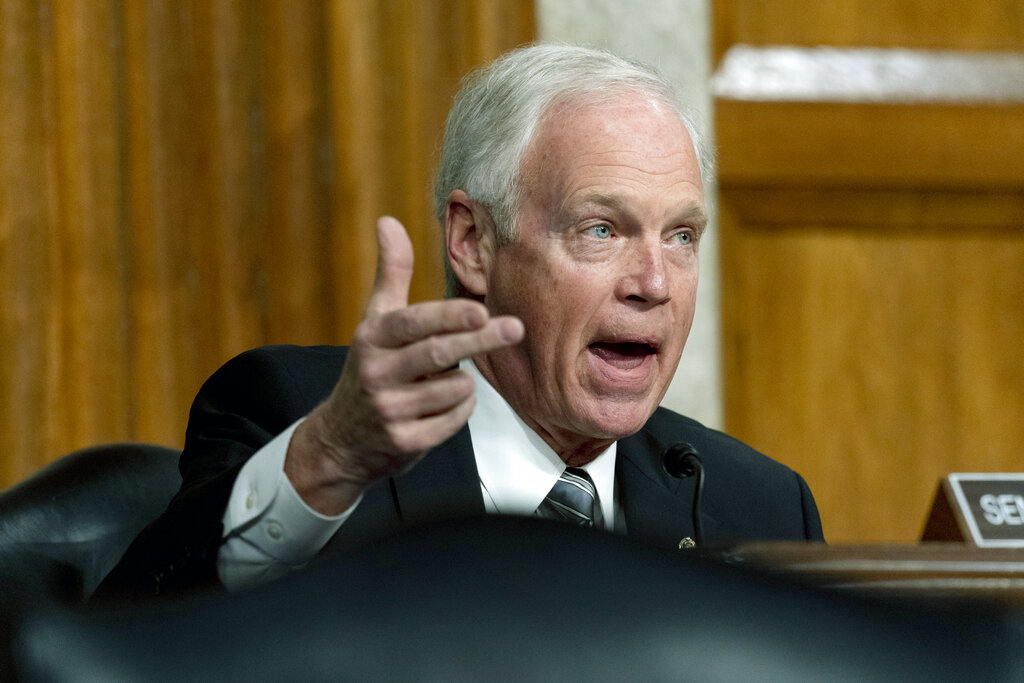 Sen. Ron Johnson spoke at a Senate Homeland Security and Governmental Affairs & Senate Rules and Administration joint hearing on Capitol Hill, Washington, Tuesday, Feb. 23, 2021, to examine the January 6 attack on the Capitol. (AP Photo/Andrew Harnik, Pool)