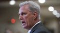 House Minority Leader Kevin McCarthy, R-Calif., comments to reporters as Congress preps for its first votes on the Democrats' $1.9 trillion COVID-19 relief bill, on Capitol Hill in Washington, Wednesday, Feb. 24, 2021. (AP Photo/J. Scott Applewhite)