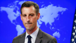 U.S. State Department Spokesman Ned Price speaks during a news briefing at the State Department in Washington, Wednesday, Feb. 24, 2021. (AP Photo/Carlos Barria/Pool via AP)
