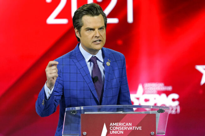 U.S. Rep. Matt Gaetz, R-Fla.,, speaks at the Conservative Political Action Conference (CPAC) Friday, Feb. 26, 2021, in Orlando, Fla. (AP Photo/John Raoux)