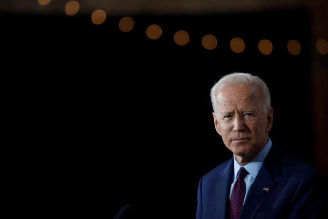 Democratic presidential candidate and former U.S. Vice President Joe Biden delivers remarks about White Nationalism during a campaign press conference on August 7, 2019 in Burlington, Iowa. (Photo by Tom Brenner/Getty Images)