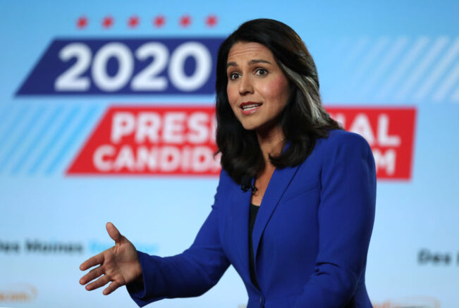 CEDAR RAPIDS, IOWA - JULY 17: Democratic presidential candidate U.S. Rep. Tulsi Gabbard (D-HI) speaks during the AARP and The Des Moines Register Iowa Presidential Candidate Forum on July 17, 2019 in Cedar Rapids, Iowa. Twenty democratic presidential hopefuls are participating in the AARP and Des Moines Register candidate forums that will feature four candidates per forum that are being to be held in cities across Iowa over five days. (Photo by Justin Sullivan/Getty Images)