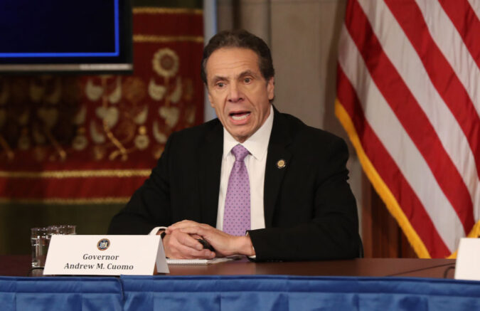 NEW YORK, NEW YORK - MARCH 20: New York Governor Andrew Cuomo speaks during his daily news conference amid the coronavirus outbreak on March 20, 2020 in New York City. Cuomo ordered nonessential businesses to keep 100% of their workforce at home in an effort to combat the spread of the COVID-19 pandemic. (Photo by Bennett Raglin/Getty Images)