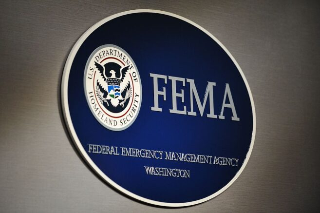 The logo of the Federal Emergency Management Agency (FEMA) is seen at its headquarters August 27, 2011 in Washington, DC. AFP PHOTO/Mandel NGAN (Photo credit should read MANDEL NGAN/AFP via Getty Images)