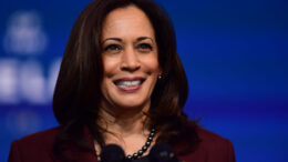 WILMINGTON, DE - NOVEMBER 24: Kamala Harris spoke after Joe Biden introduced key foreign policy and national security nominees and appointments at the Queen Theatre on November 24, 2020 in Wilmington, Delaware. (Photo by Mark Makela/Getty Images)