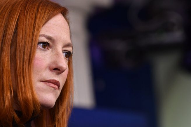 White House Press Secretary Jen Psaki speaks during a news briefing at the James Brady Press Briefing Room of the White House February 16, 2021 in Washington, DC. (Photo by Nicholas Kamm / AFP) (Photo by NICHOLAS KAMM/AFP via Getty Images)