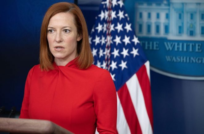 White House Press Secretary Jen Psaki speaks during a press briefing on February 17, 2021, in the Brady Briefing Room of the White House in Washington, DC. (Photo by SAUL LOEB / AFP) (Photo by SAUL LOEB/AFP via Getty Images)