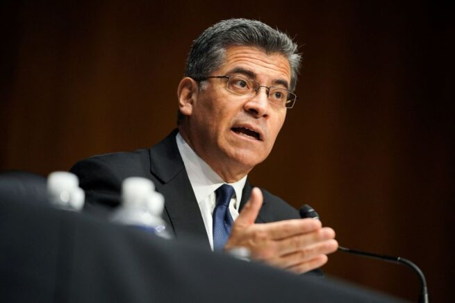Xavier Becerra, nominee for Secretary of Health and Human Services, answers questions during his Senate Finance Committee nomination hearing on February 24, 2021 at Capitol Hill in Washington, DC. - If confirmed, Becerra would be the first Latino secretary of HHS. (Photo by Greg Nash / POOL / AFP) (Photo by GREG NASH/POOL/AFP via Getty Images)