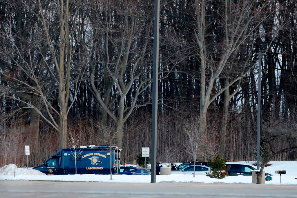 Michigan State Police investigates the scene where former US Olympics women's gymnastics coach John Geddert who died by suicide was found, at the I-96 Grand Ledge Rest Area on February, 25, 2021 in Grand Ledge, Michigan. - Former US Olympics women's gymnastics coach John Geddert died by suicide February 25, 2021, his body found hours after he was charged with human trafficking and abuse of athletes in his care, Michigan Attorney General Dana Nessel said. (Photo by JEFF KOWALSKY / AFP) (Photo by JEFF KOWALSKY/AFP via Getty Images)