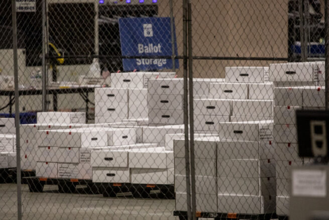 PHILADELPHIA, PENNSYLVANIA - NOVEMBER 06: Boxes of counted ballots are seen locked in the ballot storage area at the Philadelphia Convention Center on November 06, 2020 in Philadelphia, Pennsylvania. Joe Biden took the lead in the vote count in Pennsylvania on Friday morning from President Trump, as mail-in ballots continue to be counted in the battleground state. (Photo by Chris McGrath/Getty Images)