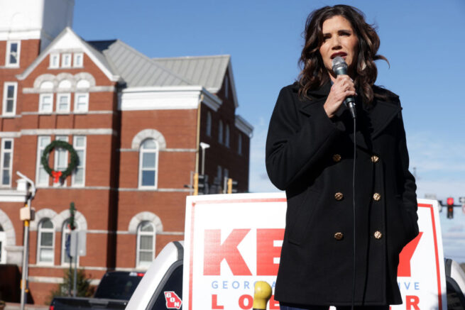 MCDONOUGH, GEORGIA - JANUARY 03: South Dakota Gov. Kristi Noem speaks as she campaigns for U.S. Sen. Kelly Loeffler (R-GA) during a campaign event outside Gritz Family Restaurant January 3, 2021 in McDonough, Georgia. Sen. Loeffler continued to campaign for the upcoming runoff election in a race against Democratic U.S. Senate candidate Raphael Warnock. (Photo by Alex Wong/Getty Images)