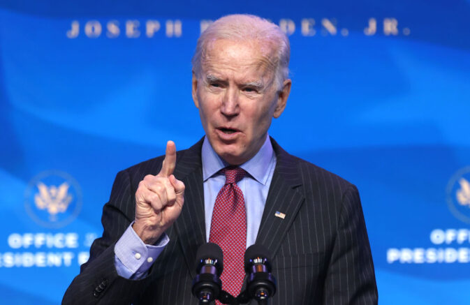 WILMINGTON, DELAWARE - JANUARY 08: Joe Biden delivered remarks at The Queen theater on January 08, 2021 in Wilmington, Delaware. (Photo by Chip Somodevilla/Getty Images)