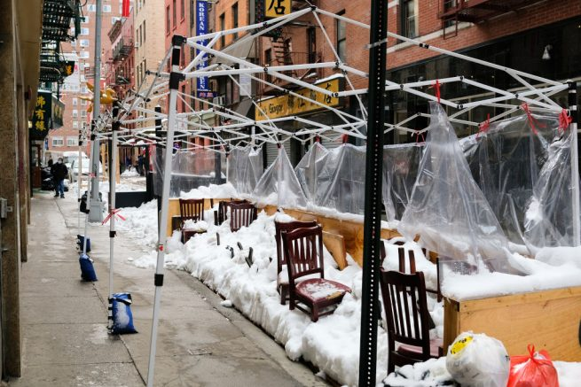 NEW YORK, NEW YORK - FEBRUARY 03: A view of a snow-damaged outdoor dining area in Manhattan's Chinatown during the coronavirus pandemic on February 03, 2021 in New York City. New York City and much of the Northeast was hit by a major winter storm that brought over two feet of snow to the area before ending on Tuesday. (Photo by Dia Dipasupil/Getty Images)