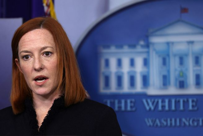 WASHINGTON, DC - FEBRUARY 11: White House Press Secretary Jen Psaki speaks during a news briefing at the James Brady Press Briefing Room of the White House February 11, 2021 in Washington, DC. Psaki held a news briefing to answers questions from the members of the press. (Photo by Alex Wong/Getty Images)
