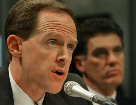WASHINGTON - JANUARY 29: U.S. Congressman Pat Toomey (L) (R-PA) testifies as fellow Congressman Dave Weldon (R-FL) looks on at a hearing before the Subcommittee on Science, Technology and Space January 29, 2003 on Capitol Hill in Washington, DC. The subcommittee is hearing testimony on the science and ethics of human cloning. (Photo by Mark Wilson/Getty Images)