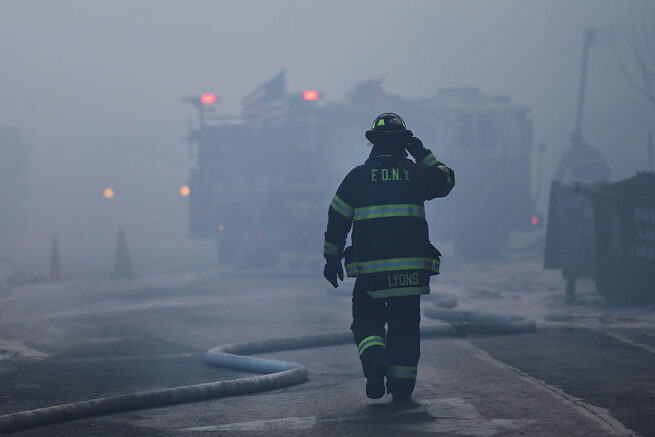 Fire Department of New York (FDNY) firefighters work to contain a building fire that went to six alarms at the CitiStorage warehouse building at 5 North 11th Street near Kent Avenue in the Willamsburg neighborhood of Brooklyn on January 31, 2015 in New York City. The morning fire which started around 6:20 AM has took over 200 firefighters to fight and smoke could be visible for miles. (Photo by Spencer Platt/Getty Images)