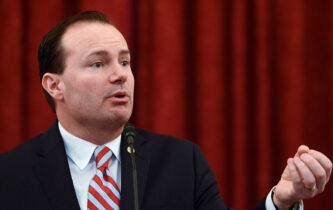 WASHINGTON, DC - APRIL 28: Senator Mike Lee speaks during #JusticReformNow Capitol Hill Advocacy Day at Russell Senate Office Building on April 28, 2016 in Washington, DC. (Photo by Leigh Vogel/Getty Images)