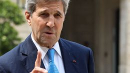 "US former Secretary of State and member of the Carnegie foundation John Kerry gestures as speaks to the press while leaving the Elysee Palace in Paris, on May 23, 2018 after the ""Tech for Good"" summit. (Photo by ludovic MARIN / AFP) (Photo by LUDOVIC MARIN/AFP via Getty Images)"