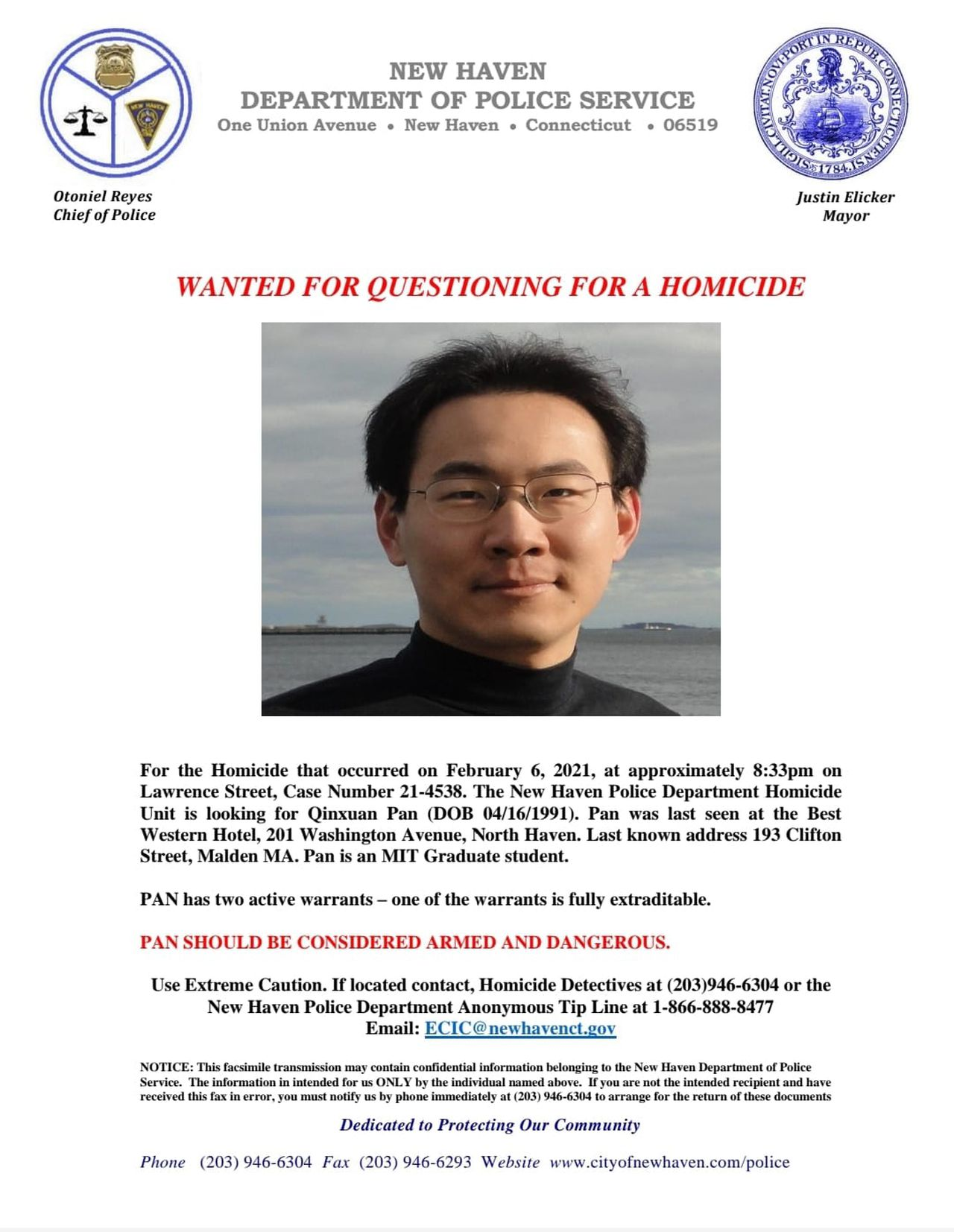 Police on Wednesday, Feb. 11, 2021, named Qinxuan Pan, a student at the Massachusetts Institute of Technology as a person of interest in the slaying of Yale University student Kevin Jiang earlier this month, noting he should be considered armed and dangerous. (New Haven Police Department)