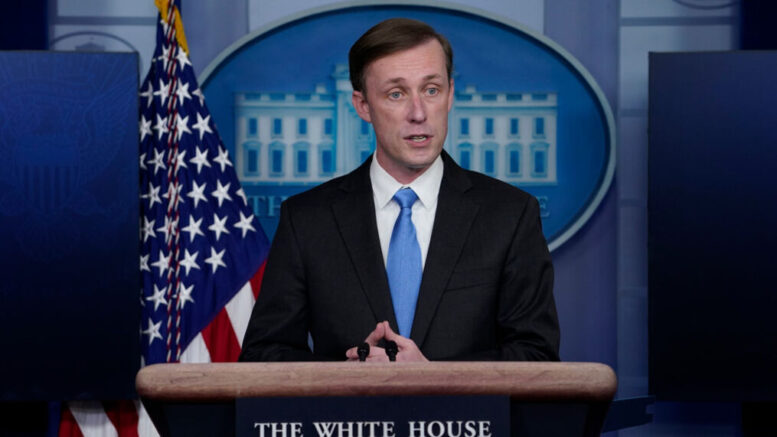 National security adviser Jake Sullivan speaks during a press briefing at the White House, Thursday, Feb. 4, 2021, in Washington. (AP Photo/Evan Vucci)