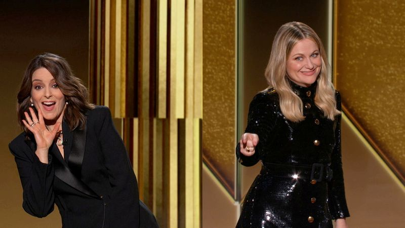 Hosts Tina Fey and Amy Poehler are seen in this handout screen grab from the 78th Annual Golden Globe Awards in Beverly Hills