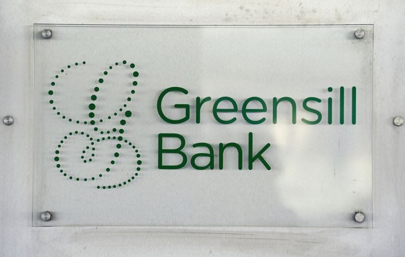 The logo of Greensill Bank is pictured in downtown Bremen