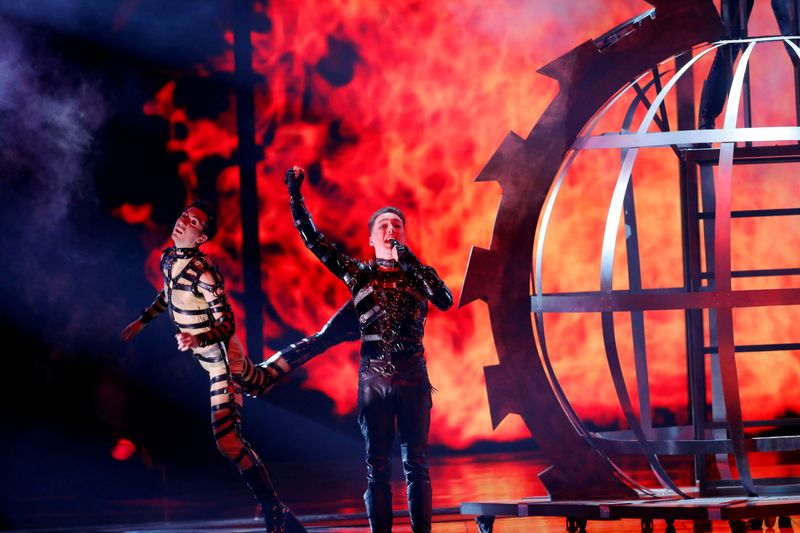 FILE PHOTO: Participant Hatari of Iceland performs during the Grand Final of the 2019 Eurovision Song Contest in Tel Aviv, Israel