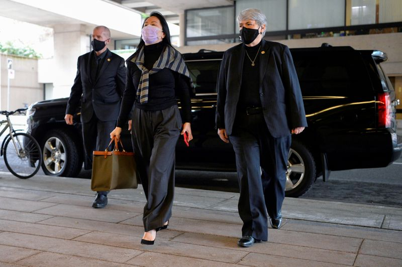 FILE PHOTO: Huawei's CFO, Meng, arrives at court in Vancouver