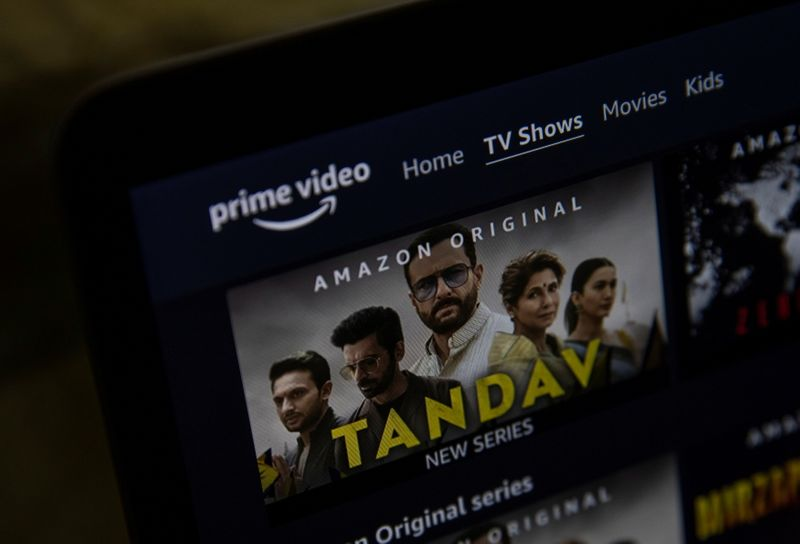 A poster of Tandav, a web series is seen on Amazon Prime Video streaming service website in this illustration picture