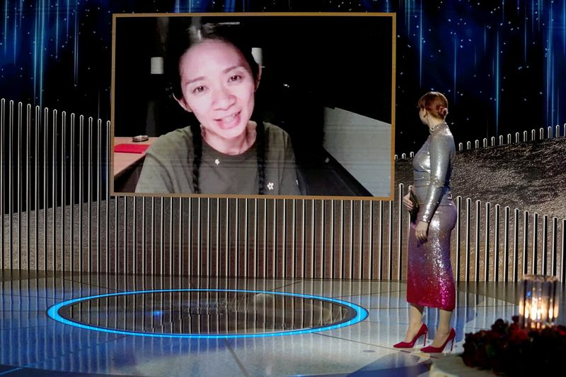 FILE PHOTO: Chloe Zhao accepts the Best Director - Motion Picture award for