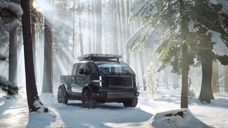 A fully-electric Canoo pickup truck is seen in an artist's rendering