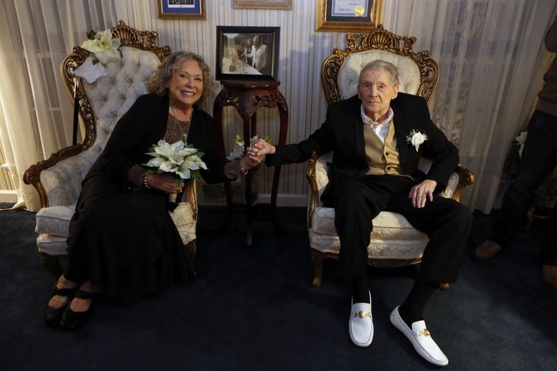 A vaccinated 85-year-old Jerry Lee Lewis renews marriage vows with 7th wife Judith at his ranch in Nesbit
